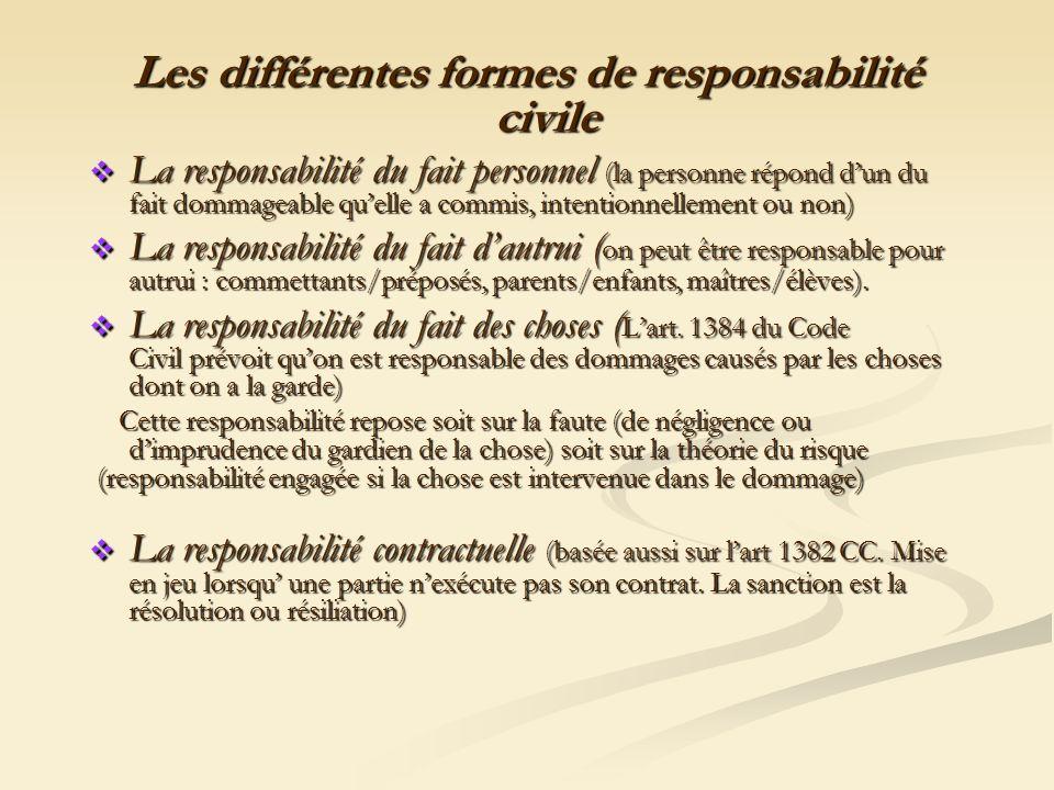 Les différentes formes de responsabilité civile La responsabilité du fait personnel (la personne répond dun du fait dommageable quelle a commis, inten