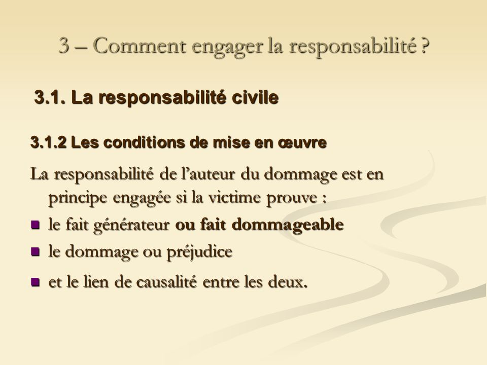 3 – Comment engager la responsabilité ? 3.1. La responsabilité civile 3.1.2 Les conditions de mise en œuvre La responsabilité de lauteur du dommage es