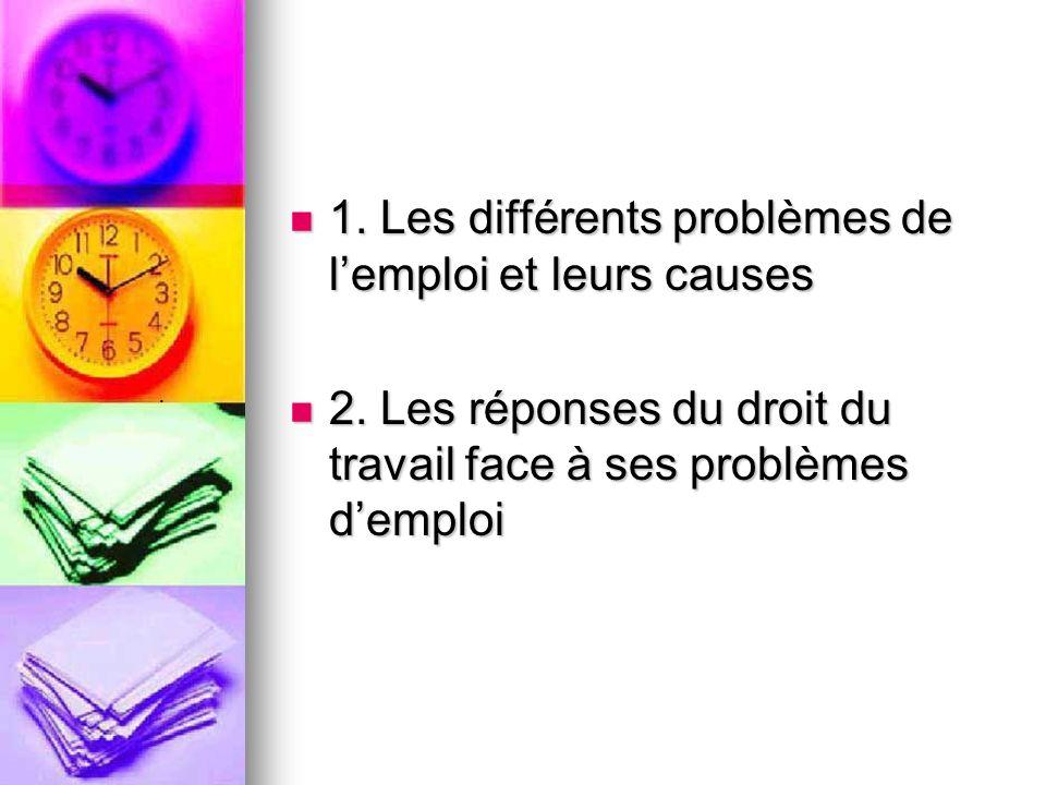 1. Les différents problèmes de lemploi et leurs causes 1.