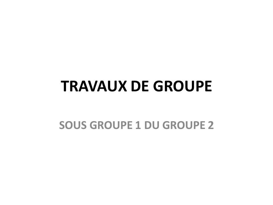 TRAVAUX DE GROUPE SOUS GROUPE 1 DU GROUPE 2