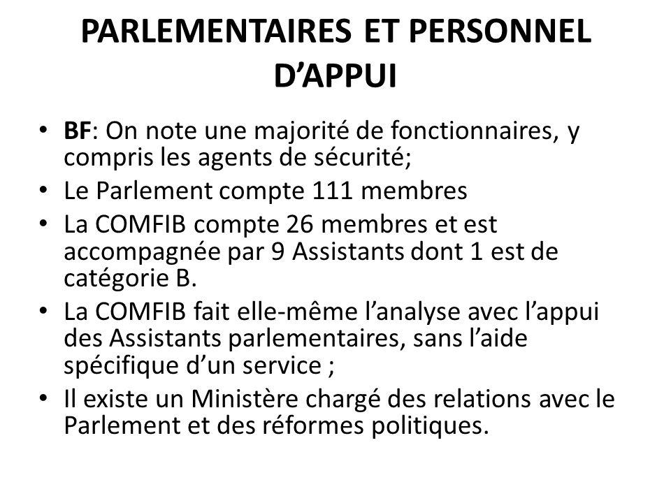 PARLEMENTAIRES ET PERSONNEL DAPPUI BF: On note une majorité de fonctionnaires, y compris les agents de sécurité; Le Parlement compte 111 membres La COMFIB compte 26 membres et est accompagnée par 9 Assistants dont 1 est de catégorie B.