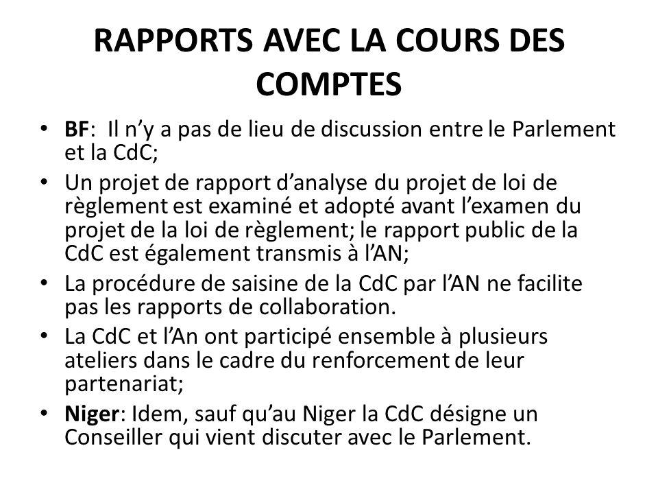 RAPPORTS AVEC LA COURS DES COMPTES BF: Il ny a pas de lieu de discussion entre le Parlement et la CdC; Un projet de rapport danalyse du projet de loi de règlement est examiné et adopté avant lexamen du projet de la loi de règlement; le rapport public de la CdC est également transmis à lAN; La procédure de saisine de la CdC par lAN ne facilite pas les rapports de collaboration.