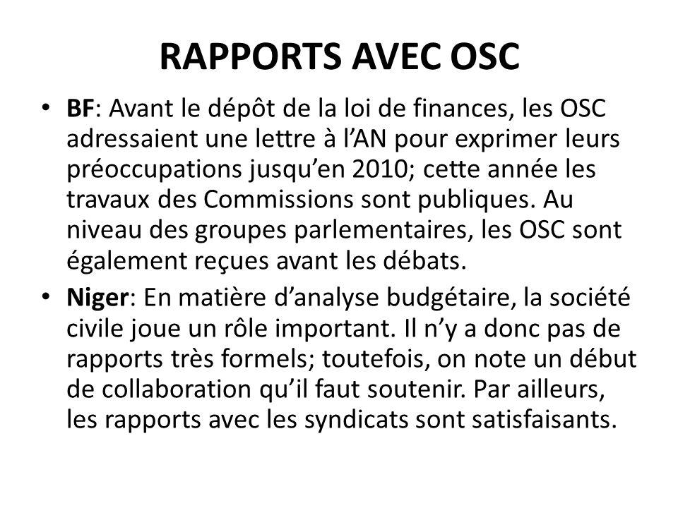RAPPORTS AVEC OSC BF: Avant le dépôt de la loi de finances, les OSC adressaient une lettre à lAN pour exprimer leurs préoccupations jusquen 2010; cette année les travaux des Commissions sont publiques.