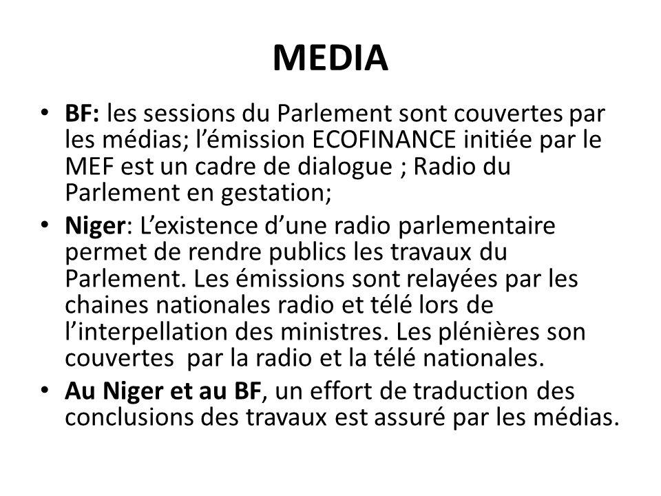 MEDIA BF: les sessions du Parlement sont couvertes par les médias; lémission ECOFINANCE initiée par le MEF est un cadre de dialogue ; Radio du Parlement en gestation; Niger: Lexistence dune radio parlementaire permet de rendre publics les travaux du Parlement.