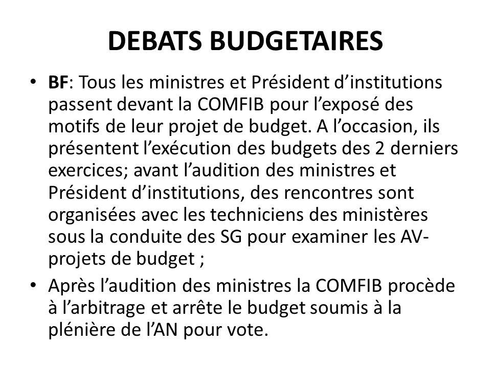 DEBATS BUDGETAIRES BF: Tous les ministres et Président dinstitutions passent devant la COMFIB pour lexposé des motifs de leur projet de budget.