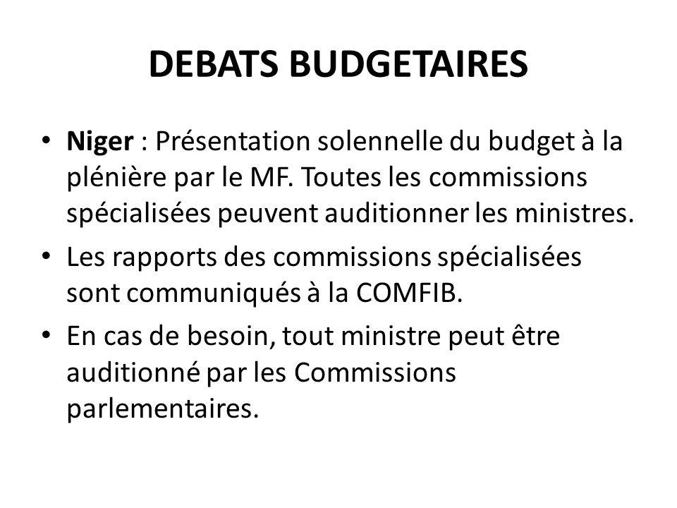 DEBATS BUDGETAIRES Niger : Présentation solennelle du budget à la plénière par le MF.