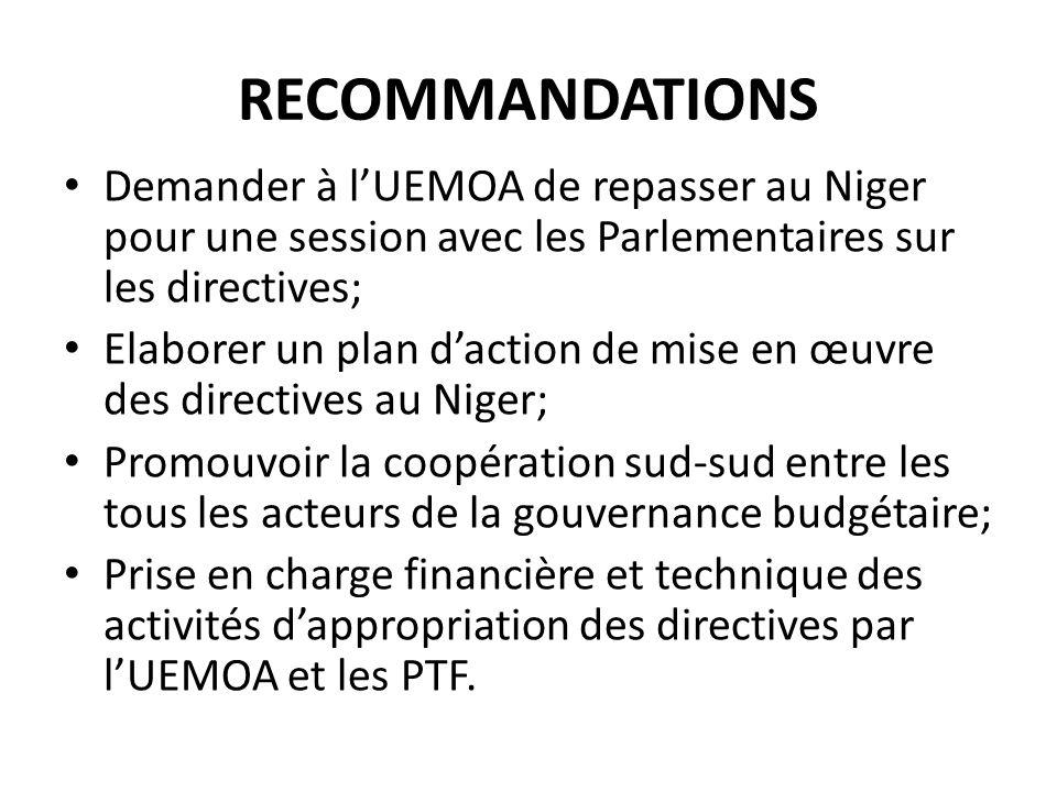 RECOMMANDATIONS Demander à lUEMOA de repasser au Niger pour une session avec les Parlementaires sur les directives; Elaborer un plan daction de mise en œuvre des directives au Niger; Promouvoir la coopération sud-sud entre les tous les acteurs de la gouvernance budgétaire; Prise en charge financière et technique des activités dappropriation des directives par lUEMOA et les PTF.
