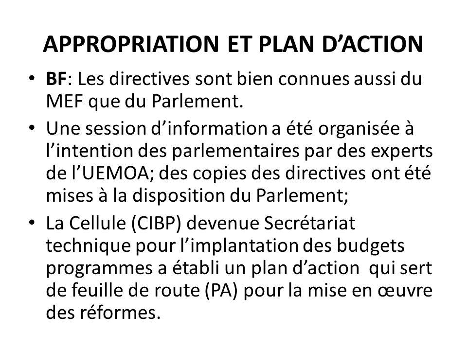 APPROPRIATION ET PLAN DACTION BF: Les directives sont bien connues aussi du MEF que du Parlement.