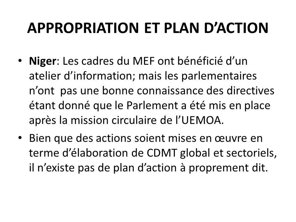 APPROPRIATION ET PLAN DACTION Niger: Les cadres du MEF ont bénéficié dun atelier dinformation; mais les parlementaires nont pas une bonne connaissance des directives étant donné que le Parlement a été mis en place après la mission circulaire de lUEMOA.