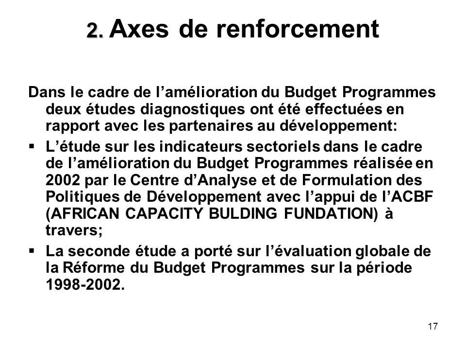 17 2. 2. Axes de renforcement Dans le cadre de lamélioration du Budget Programmes deux études diagnostiques ont été effectuées en rapport avec les par