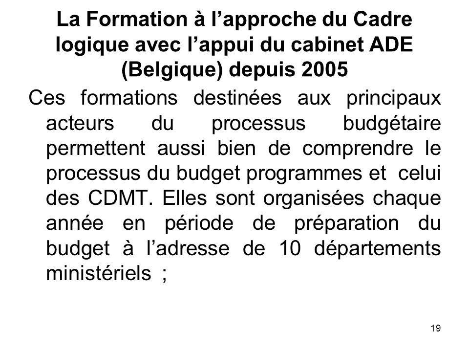 19 La Formation à lapproche du Cadre logique avec lappui du cabinet ADE (Belgique) depuis 2005 Ces formations destinées aux principaux acteurs du proc