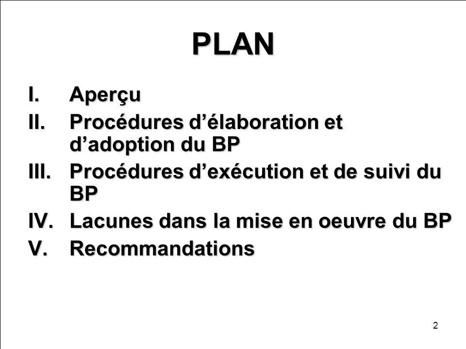 2 PLAN I.Aperçu II.Procédures délaboration et dadoption du BP III.Procédures dexécution et de suivi du BP IV.Lacunes dans la mise en oeuvre du BP V.Re