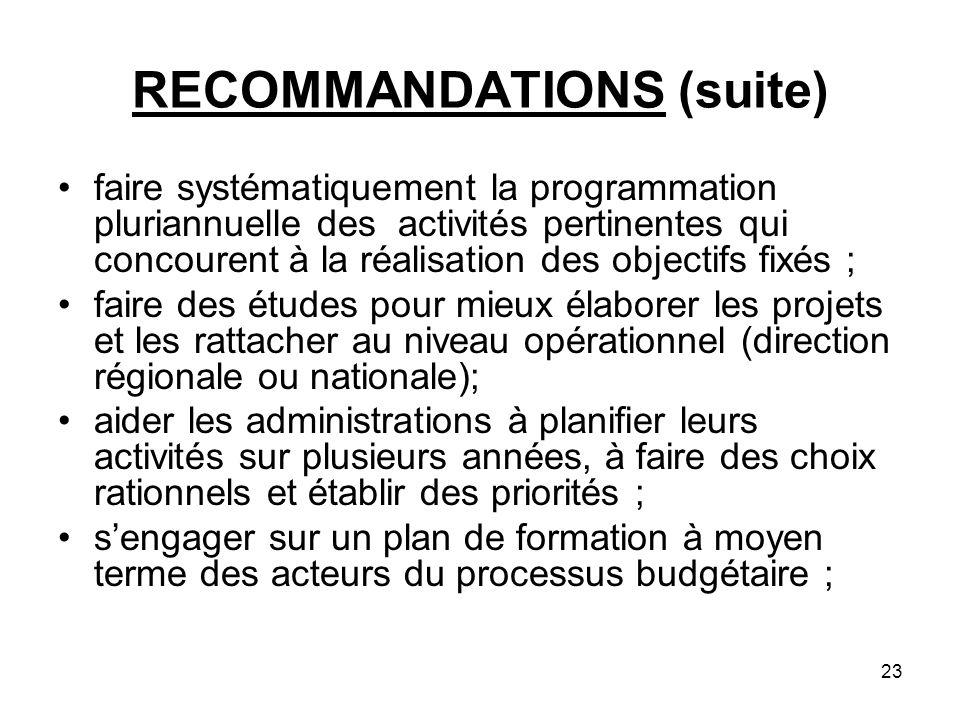23 RECOMMANDATIONS (suite) faire systématiquement la programmation pluriannuelle des activités pertinentes qui concourent à la réalisation des objecti