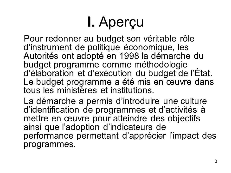 3 I. I. Aperçu Pour redonner au budget son véritable rôle dinstrument de politique économique, les Autorités ont adopté en 1998 la démarche du budget