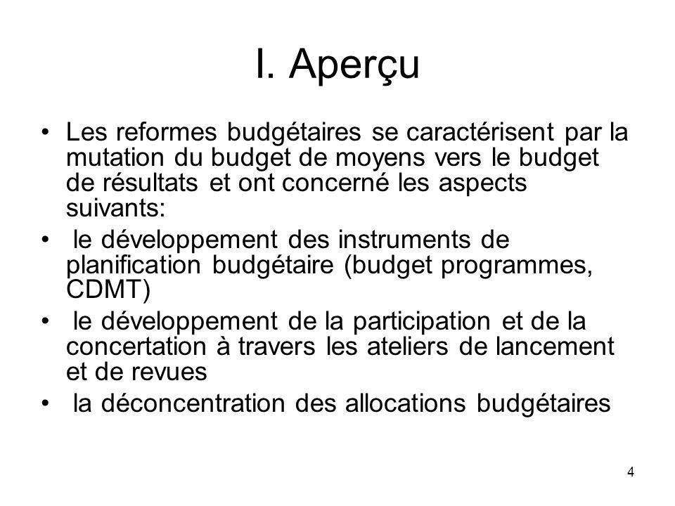 4 I. Aperçu Les reformes budgétaires se caractérisent par la mutation du budget de moyens vers le budget de résultats et ont concerné les aspects suiv