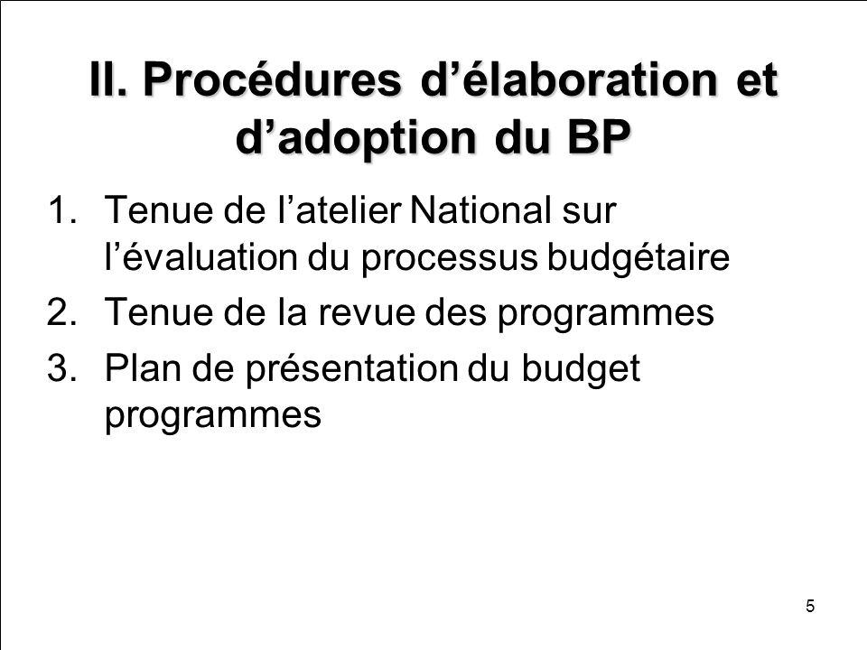 5 II. Procédures délaboration et dadoption du BP 1.Tenue de latelier National sur lévaluation du processus budgétaire 2.Tenue de la revue des programm