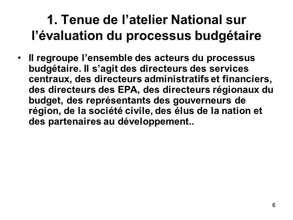 6 1. 1. Tenue de latelier National sur lévaluation du processus budgétaire Il regroupe lensemble des acteurs du processus budgétaire. Il sagit des dir