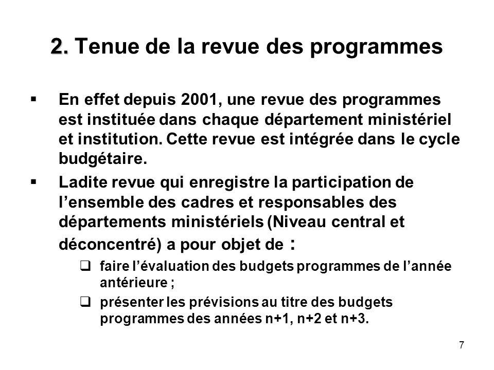 7 2. 2. Tenue de la revue des programmes En effet depuis 2001, une revue des programmes est instituée dans chaque département ministériel et instituti