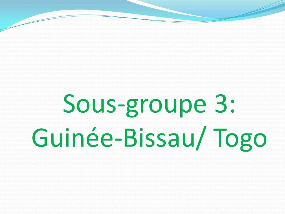 Etat des lieux dans les deux pays En Guinée-bissau, à fin décembre 2011 la traduction des directives en portugais et en début 2012 la transposition, Au Togo, la transposition est déjà faite.