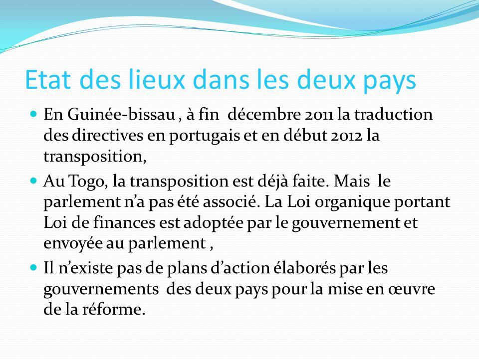 Etat des lieux dans les deux pays (Suite) La majorité des parlementaires au Togo sont des fonctionnaires alors que ceux de la Guinée-bissau sont de la société civile, Les parlements des deux pays nentretiennent pas de relations avec leurs Cours des comptes, Les deux parlements ont des Sites internet mais ne publient pas toutes les informations.