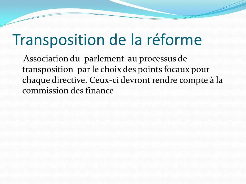 Transposition de la réforme Association du parlement au processus de transposition par le choix des points focaux pour chaque directive.
