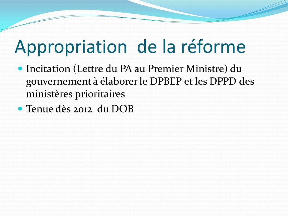Appropriation de la réforme Incitation (Lettre du PA au Premier Ministre) du gouvernement à élaborer le DPBEP et les DPPD des ministères prioritaires Tenue dès 2012 du DOB