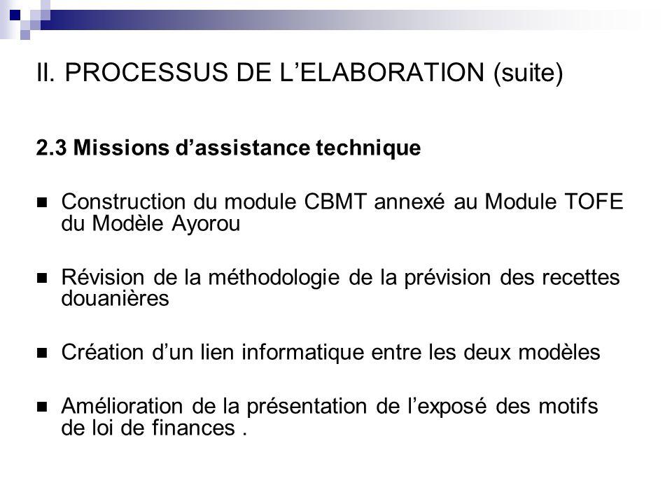 II. PROCESSUS DE LELABORATION (suite) 2.3 Missions dassistance technique Construction du module CBMT annexé au Module TOFE du Modèle Ayorou Révision d