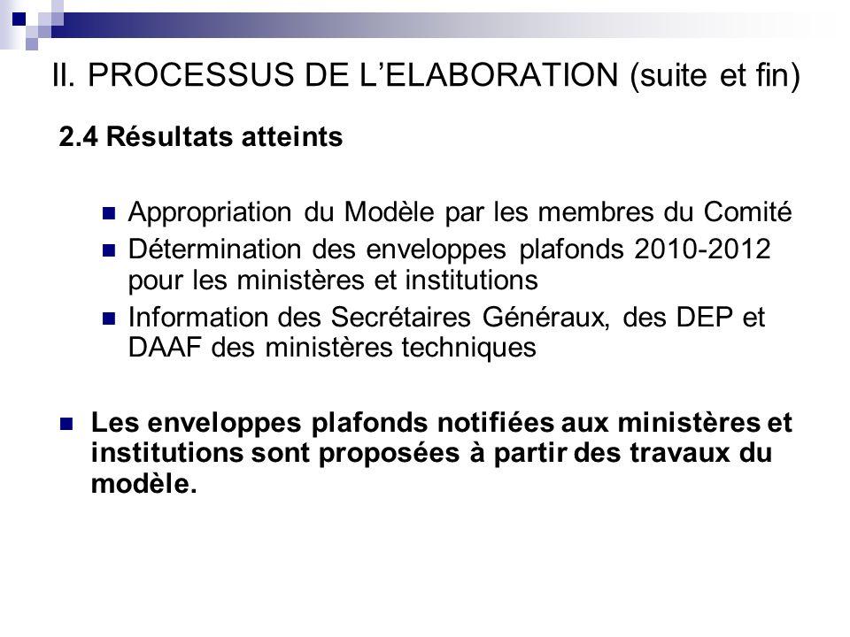 II. PROCESSUS DE LELABORATION (suite et fin) 2.4 Résultats atteints Appropriation du Modèle par les membres du Comité Détermination des enveloppes pla