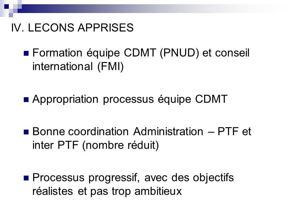 IV. LECONS APPRISES Formation équipe CDMT (PNUD) et conseil international (FMI) Appropriation processus équipe CDMT Bonne coordination Administration