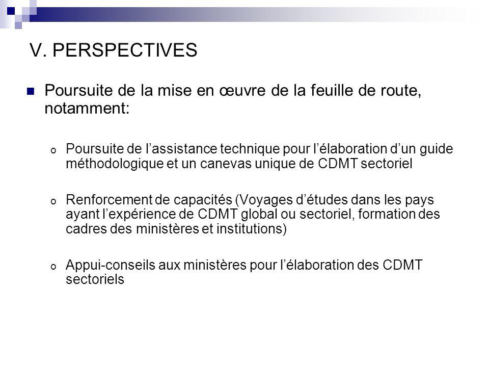 V. PERSPECTIVES Poursuite de la mise en œuvre de la feuille de route, notamment: o Poursuite de lassistance technique pour lélaboration dun guide méth