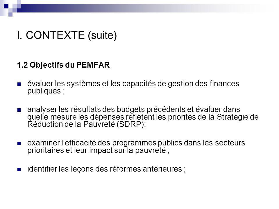 I. CONTEXTE (suite) 1.2 Objectifs du PEMFAR évaluer les systèmes et les capacités de gestion des finances publiques ; analyser les résultats des budge