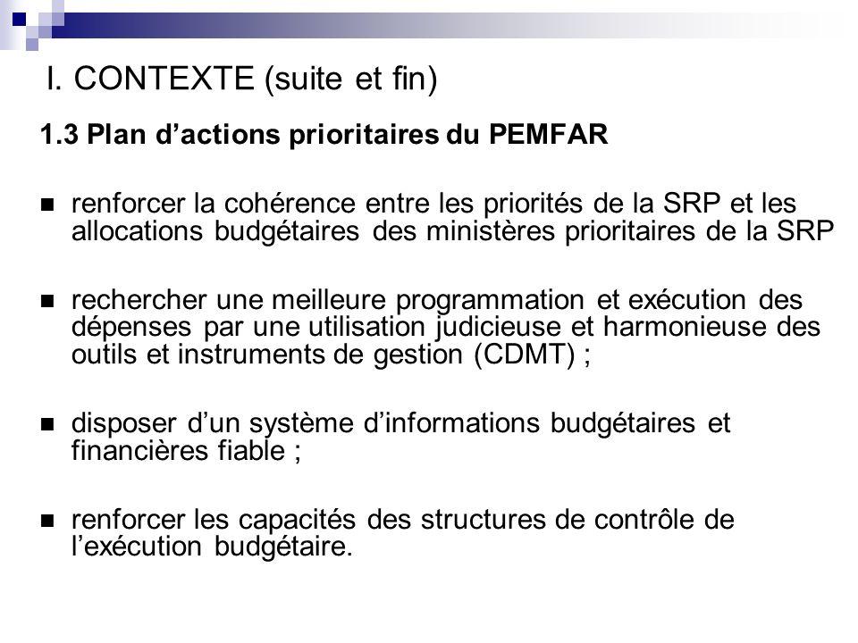 I. CONTEXTE (suite et fin) 1.3 Plan dactions prioritaires du PEMFAR renforcer la cohérence entre les priorités de la SRP et les allocations budgétaire
