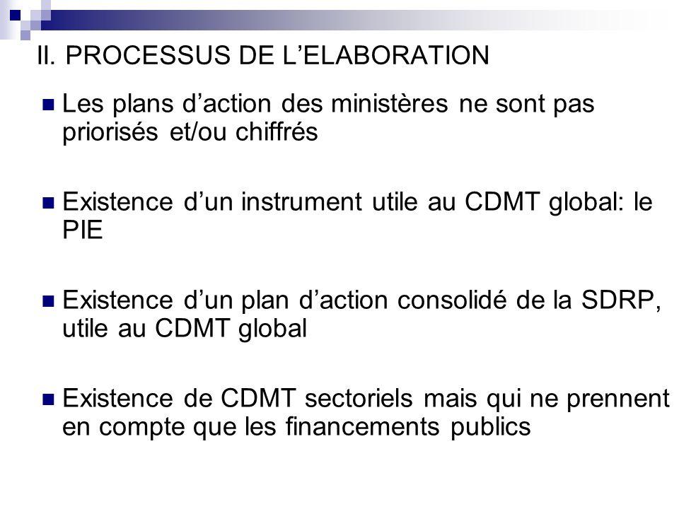 Les plans daction des ministères ne sont pas priorisés et/ou chiffrés Existence dun instrument utile au CDMT global: le PIE Existence dun plan daction