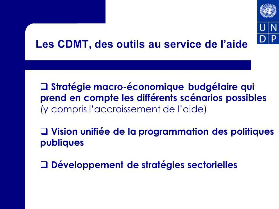 Les CDMT, des outils au service de laide Stratégie macro-économique budgétaire qui prend en compte les différents scénarios possibles (y compris laccroissement de laide) Vision unifiée de la programmation des politiques publiques Développement de stratégies sectorielles