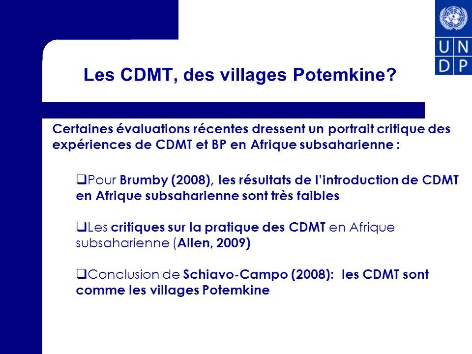 Les CDMT, des villages Potemkine? Certaines évaluations récentes dressent un portrait critique des expériences de CDMT et BP en Afrique subsaharienne