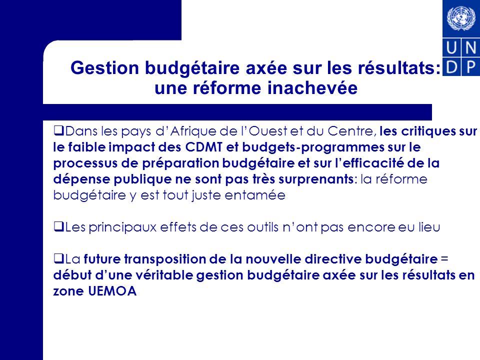 Gestion budgétaire axée sur les résultats: une réforme inachevée Dans les pays dAfrique de lOuest et du Centre, les critiques sur le faible impact des
