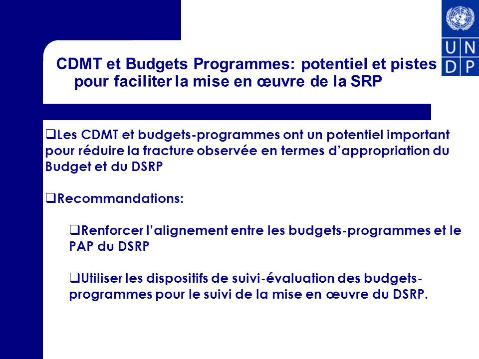 CDMT et Budgets Programmes: potentiel et pistes pour faciliter la mise en œuvre de la SRP Les CDMT et budgets-programmes ont un potentiel important po