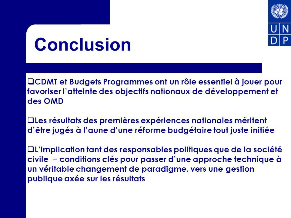 Conclusion CDMT et Budgets Programmes ont un rôle essentiel à jouer pour favoriser latteinte des objectifs nationaux de développement et des OMD Les r