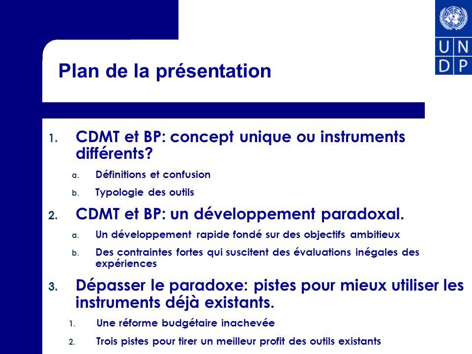 Plan de la présentation 1. CDMT et BP: concept unique ou instruments différents? a. Définitions et confusion b. Typologie des outils 2. CDMT et BP: un