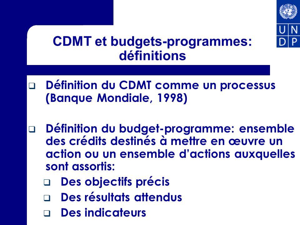 CDMT et budgets-programmes: définitions Définition du CDMT comme un processus (Banque Mondiale, 1998) Définition du budget-programme: ensemble des cré