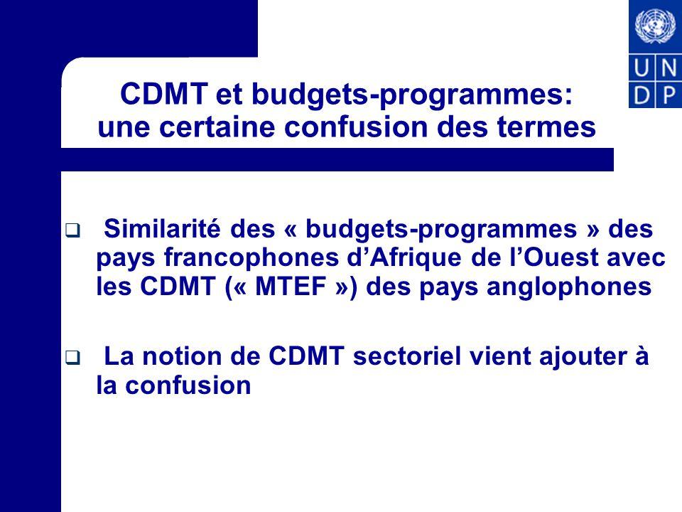 CDMT et budgets-programmes: une certaine confusion des termes Similarité des « budgets-programmes » des pays francophones dAfrique de lOuest avec les