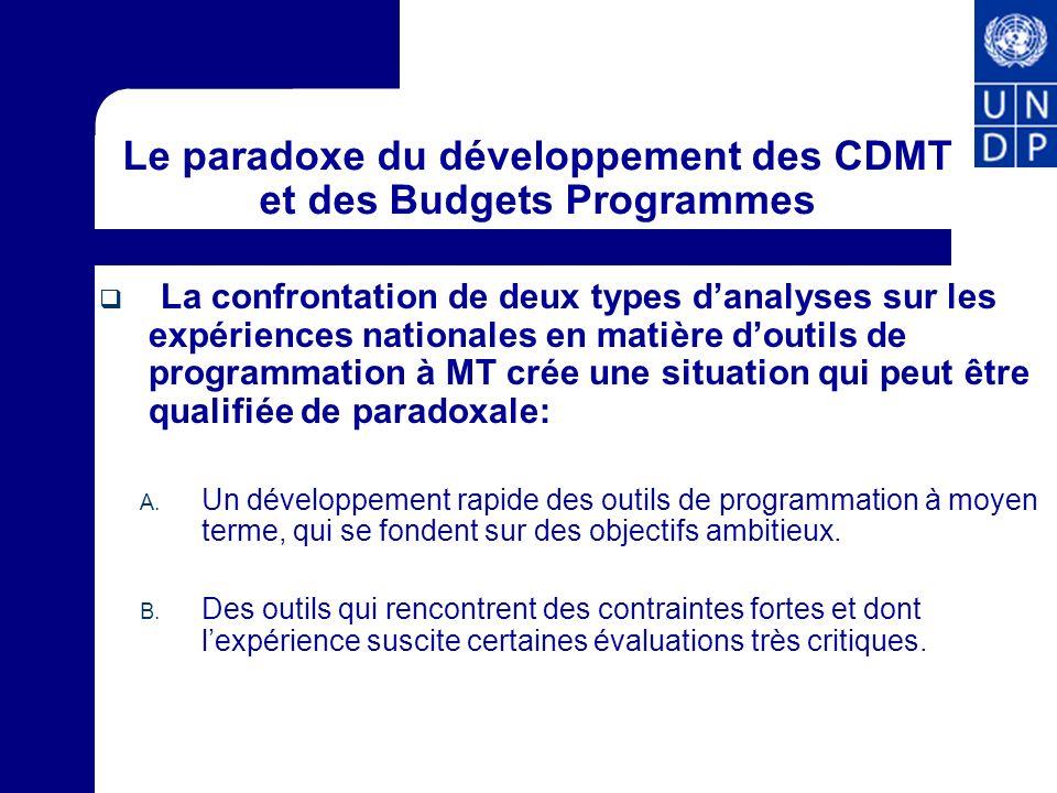 CDMT et Budgets Programmes: potentiel et pistes pour faciliter la mise en œuvre de la SRP Les CDMT et budgets-programmes ont un potentiel important pour réduire la fracture observée en termes dappropriation du Budget et du DSRP Recommandations: Renforcer lalignement entre les budgets-programmes et le PAP du DSRP Utiliser les dispositifs de suivi-évaluation des budgets- programmes pour le suivi de la mise en œuvre du DSRP.