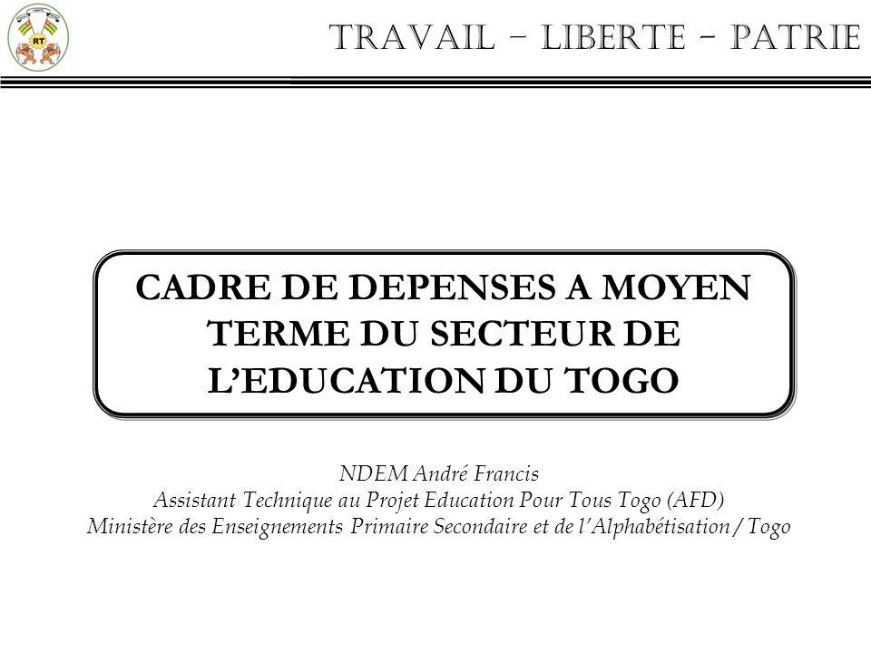 TRAVAIL – LIBERTE - PATRIE PLAN o Contexte institutionnel o Principales étapes o Les éléments du CDMT Education et lien avec le budget programme o Comment concilier objectifs et contraintes financières .