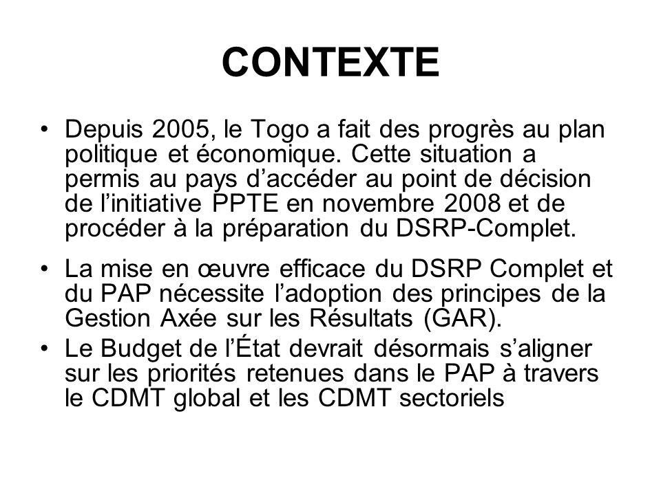 CDMTs ET BUDGETS PROGRAMMES Suite à la formation réalisée avec lappui financier de la BAD (2008) et lassistance technique du PNUD (Pôle-Dakar), loutil CDMT est entrain de sinstaller dans le processus budgétaire au Togo (MEPSA et MS).