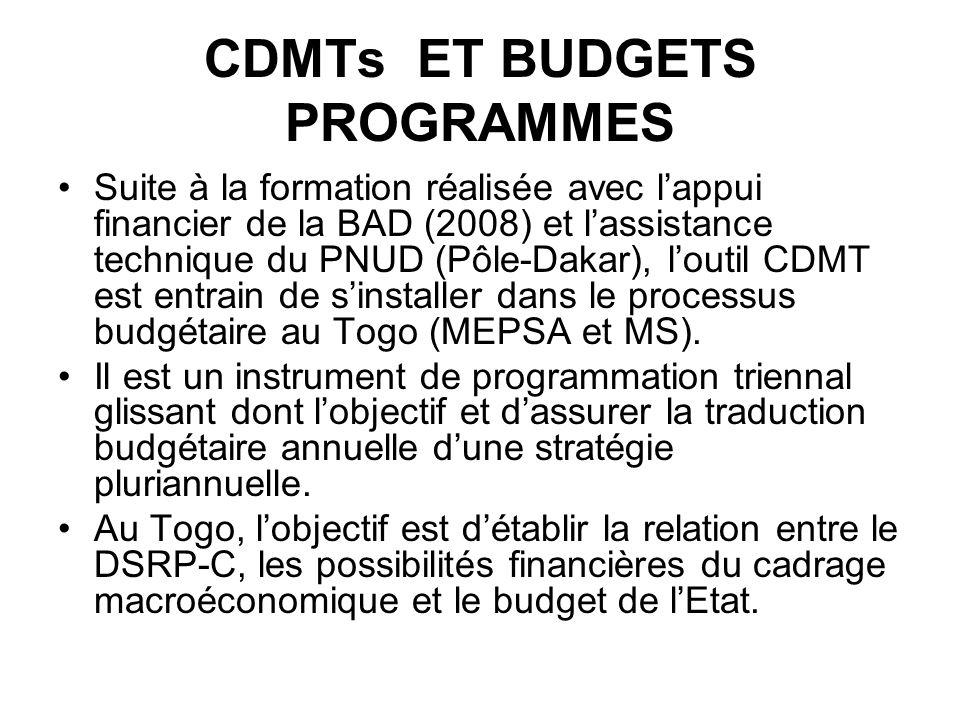 CDMTs ET BUDGETS PROGRAMMES Suite à la formation réalisée avec lappui financier de la BAD (2008) et lassistance technique du PNUD (Pôle-Dakar), loutil