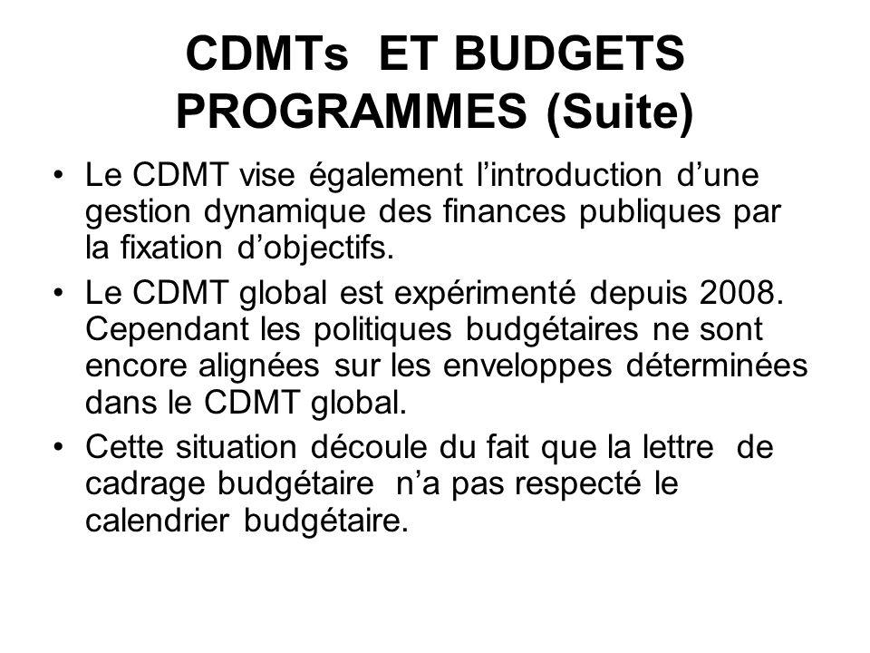 CDMTs ET BUDGETS PROGRAMMES (Suite) Le CDMT vise également lintroduction dune gestion dynamique des finances publiques par la fixation dobjectifs. Le