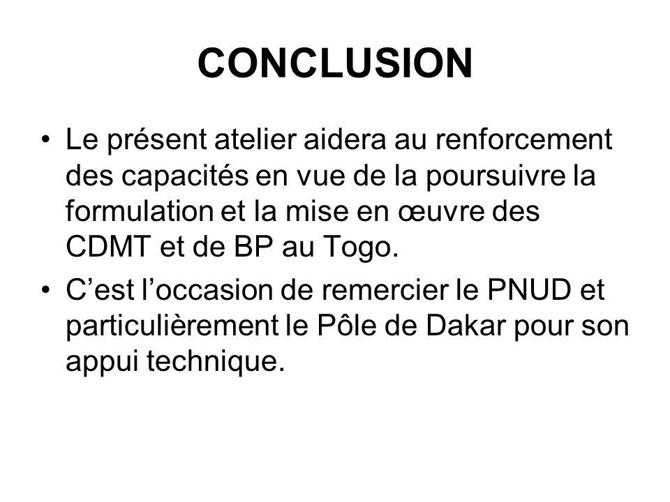 CONCLUSION Le présent atelier aidera au renforcement des capacités en vue de la poursuivre la formulation et la mise en œuvre des CDMT et de BP au Togo.