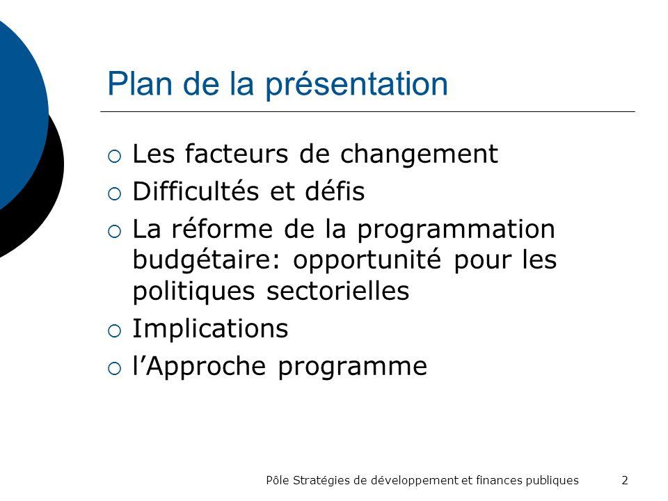 Plan de la présentation Les facteurs de changement Difficultés et défis La réforme de la programmation budgétaire: opportunité pour les politiques sec