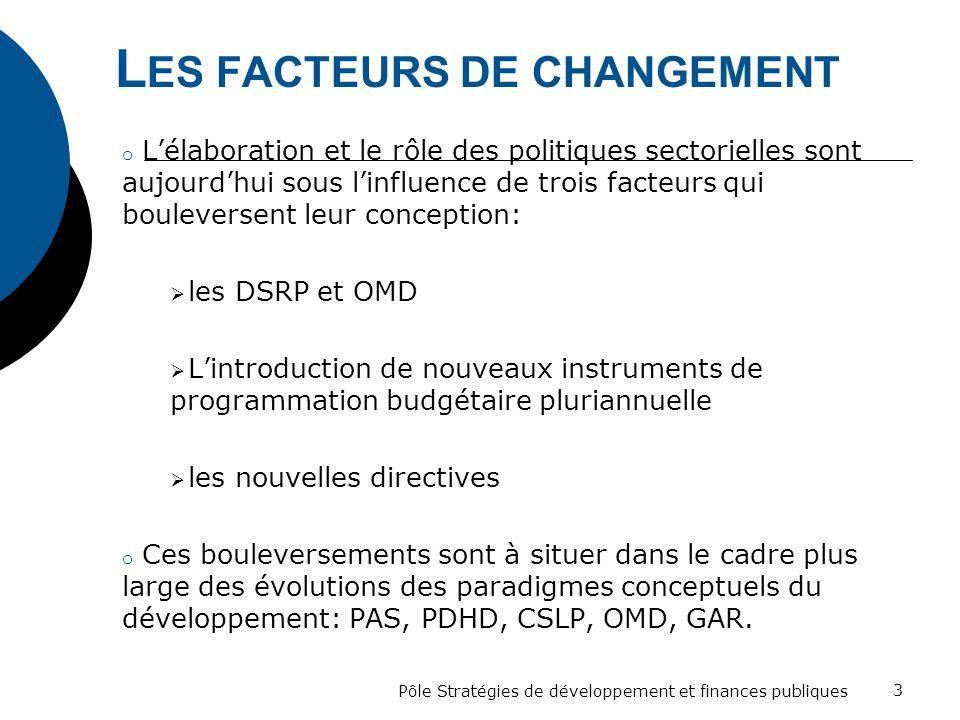 L ES FACTEURS DE CHANGEMENT o Lélaboration et le rôle des politiques sectorielles sont aujourdhui sous linfluence de trois facteurs qui bouleversent l