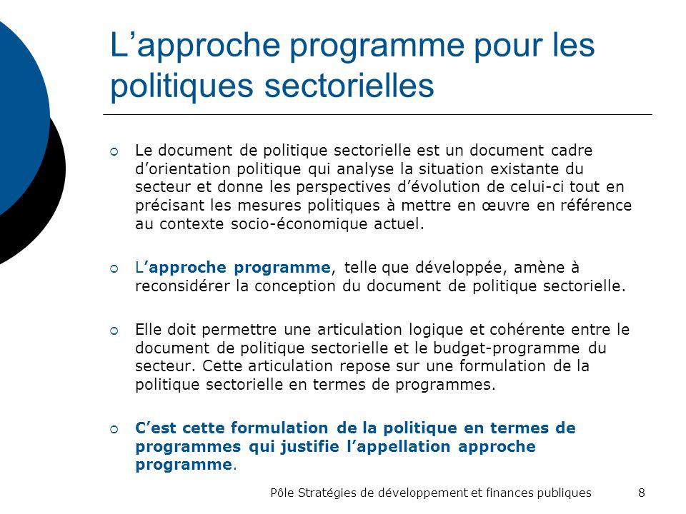 Lapproche programme pour les politiques sectorielles Le document de politique sectorielle est un document cadre dorientation politique qui analyse la